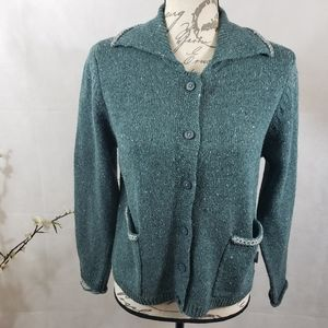 Woolrich Teal Cardigan Sweater